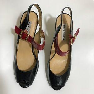 Steve Madden Black Burgundy Ankle Strap Heels